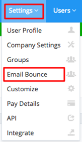 Settings Email Bounce